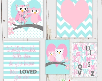 Pink Owl  Nursery Art Multi Print Set Baby Girl Room Decor