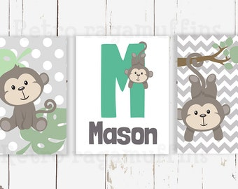 Monkey Nursery Art  Print Various Sizes Personalized Boys Room Decor