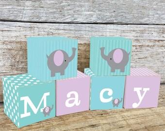 Purple Elephant Name Blocks, Nursery Decor, Nursery Name Personalized Wooden Blocks