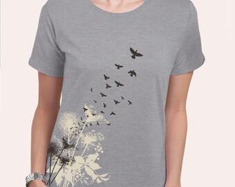 Dandelions Women's Plus Size T-Shirt, Dandelion Print, Dandelions and Birds Heather Grey T-shirt