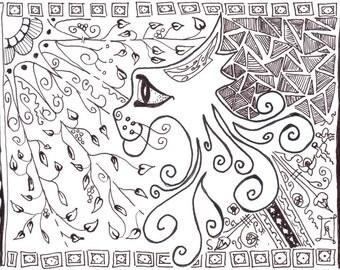 cat art / black and white / wall decor / cat lover / small art  / cat decor  / zen cat / zentangle  / child art / animal lover / 8x10 / P151