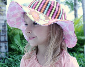Baby sun hat for infant and newborn girls, big floppy brim, cute and unique cotton sun protection hat