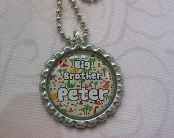 Personalized Bottle cap necklace or keychain for big brothers with 5 different backgrounds