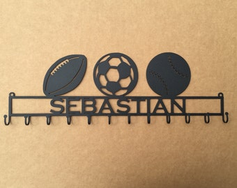 Medal Holder with 3 Sport Balls of your Choice and Personalized Text Field with 12 Hooks   (W26)