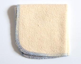 Hemp and Organic Cotton French Terry Washcloth 9 x 9 inches Blue Trim by Aquarian Bath - Go green - ecofriendly