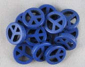 Dark Blue Magnesite 15mm Peace Sign Beads - 13 pieces #H16-17