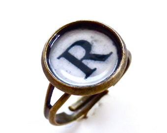 Typewriter Key Initial Letter Ring -  Antique Brass - Adjustable Typewriter Ring