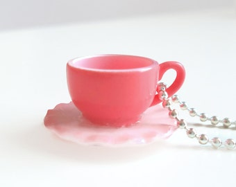 Pink ruffled teacup necklace