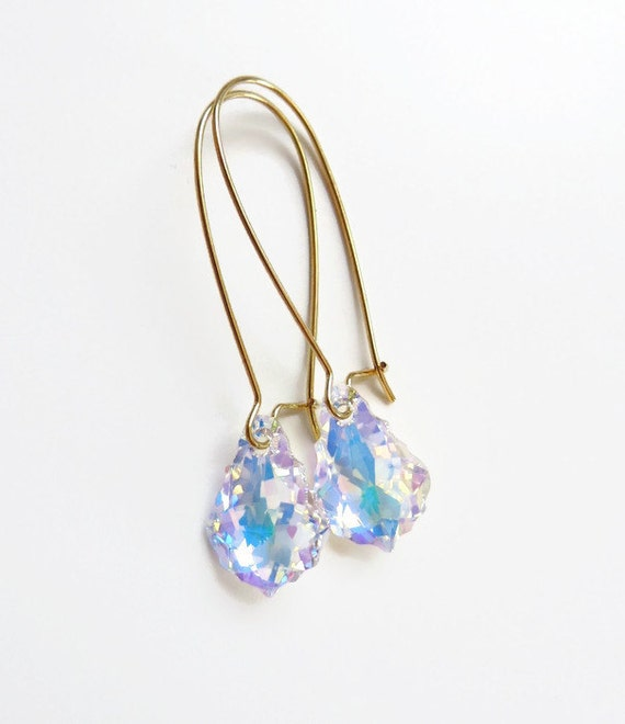 Long Crystal Baroque Earrings - Clear AB
