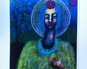 Print/Goddess/Deva/Mother/Earth/love/compassion/prayer/flower/beads/