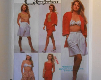 Skirt, Shorts, Tank Top, Bandeau and Jacket Pattern Simplicity 9156 Size 10 12 14 16 18 20 22 24 Bust 32 1/2 34 36 38 40 42 44 46