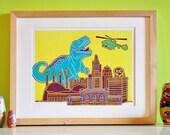 Kansas City Dinosaur Attack Letterpress Print