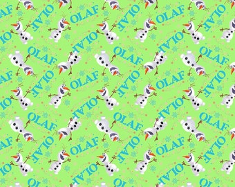 Frozen Olaf Green Toss Disney cotton woven fabric by the yard