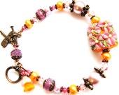Floral Lampwork Glass Flower Bracelet,  Pink, Orange, Antiqued Copper Bracelet, Dragonfly Bracelet, Gift For HER Ready To Ship