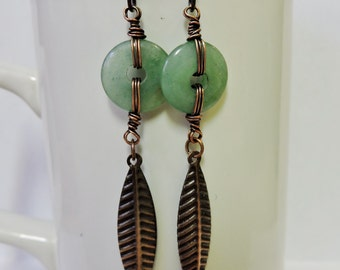 Aventurine Rings with Antique Copper Feathers