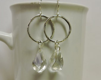 Sterling Silver Hoops with Swarovski Twisted Drops