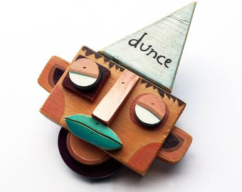 The Dunce - Original Mixed Media Wall Sculpture