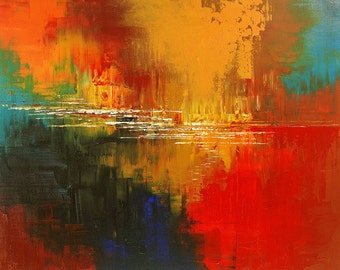Abstract Painting Palette Knife Original Art Handmade Large red yellow orange blue by ILIINA - Made-to-ORDER