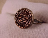 SALE Copper and Bronze Clothing Button Ring - Free Shipping to USA
