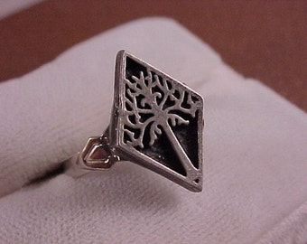 SALE Pewter White Tree Clothing Button Adjustable Ring