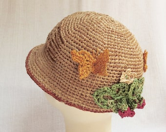 Crochet Sun Hat with Naturalistic Decor - Genuine Natural Madagascar Raffia / Straw Sun Hat For Toddler Girl