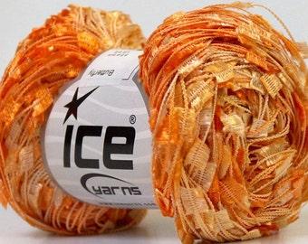 butterfly yarn . bellini . ice yarns 164yd . orange peach champagne fancy novelty flag ribbon yarn . metallic orange shades . destash yarn