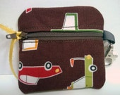 Inhaler/Mouthguard Chocolate Brown Cars Soft Zipper Pouch, roller derby, sports, asthma
