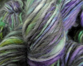 Handspun yarn, handpainted yarn,  Baby Alpaca, bulky  yarn thick and thin multiple skeins available-Pleione