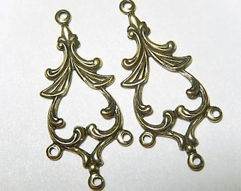 Brass 3 Ring Connector, Oxidized Brass. Earring Drops.  One Pair (232) (A651) REDUCED from 2.90. Last Ones