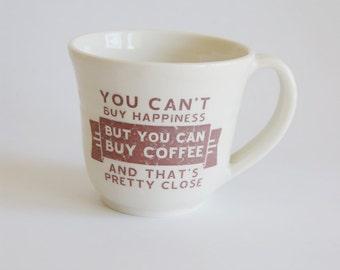 Large Coffee Mug - Large Mug with Coffee Decal - White Ceramic Mug - Large Porcelain Cup