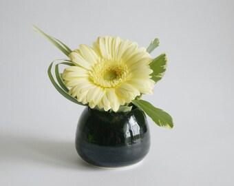 Black Bud Vase - Small Black Vase - Porcelain Vase - Black Vase by Janson Pottery