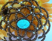 Clearance Sale!! - Kippah for women.  Beaded brown and aqua kippah for women.  Unique kipah.  Head covering for temple.