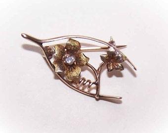 ANTIQUE EDWARDIAN 14K Gold & Diamond Sweetheart Pin/Brooch - Wishbone/Floral