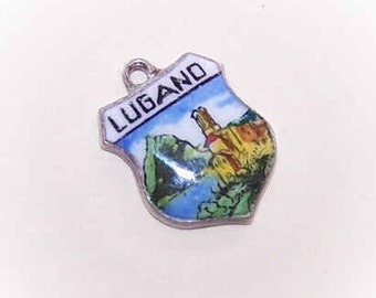 Vintage European 800 Silver & Enamel Travel Shield Charm - Lugano