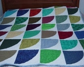 "Lap Quilt, Snow Drift Quilt, 48""x60"",  machine quilted"