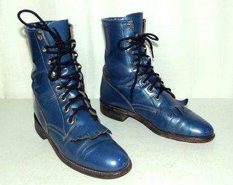 Womens 6 B Cowboy Boots Blue Lace Up Ropers Justin Ladies Cowgirl Steampunk VTG