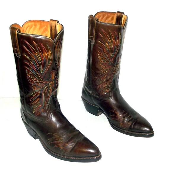 Vintage Rainbow Eagle Cowboy Boots Acme Brand mens size 11