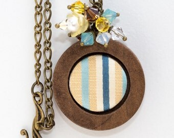 Yellow and Blue Fabric Button in Wooden Frame With Swarovski Crystals and Pearls and Antiqued Bronze Finding