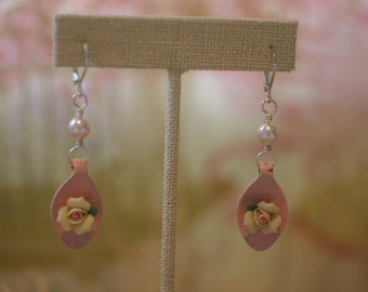 Shabby Chic Pink and Yellow Spoon Earrings