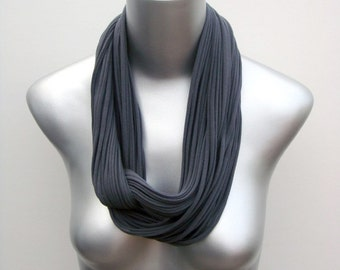 Gray Scarf, Grey Cotton Scarf, Gray Infinity Scarf, Gift For Her, Girlfriend Gift, Gift for Wife, Gift Idea For Women, Womens Scarves, Gifts