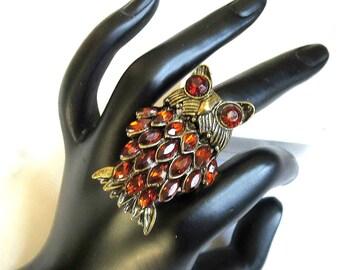 Amber Rhinestone Owl  Ring Expansion Vintage Retro