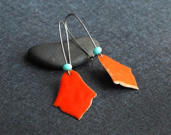 India Enameled Earring in Bright Red with Turquoise on blackened silver long kidney hooks