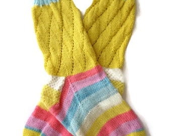 Socks - Hand Knit Women's Pastel Striped Socks - Size 6.5 - 8
