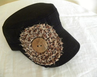 Black Military Cadet Cap with  Hand Made Cheetah Embellishment