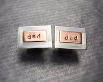 dad cuff links - Sterling Silver and Copper