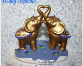 Kissing Elephants, Personalized Wedding Cake Topper