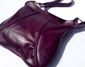 Purple Leather Bag, Leather Crossbody Bag, Leather Travel Bag, Purple Leather Purse