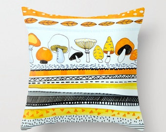 Mushrooms decorative pillow cover, modern art print from my original painting.