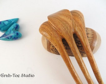 Mini Jugendstil Hair fork, Grahtoe studio Canary Wood, Carved Wood Hair Accessory,Hair Stick