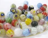 50 Flower and Star Millefiori Round Beads 6mm (C)